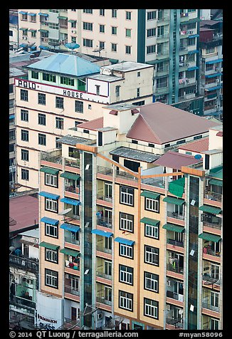 New appartment buildings from above. Yangon, Myanmar (color)