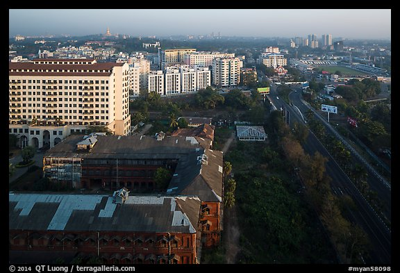 Old railway station and new appartment buildings from above. Yangon, Myanmar (color)