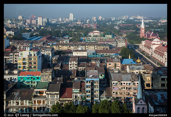 City view from above. Yangon, Myanmar (color)