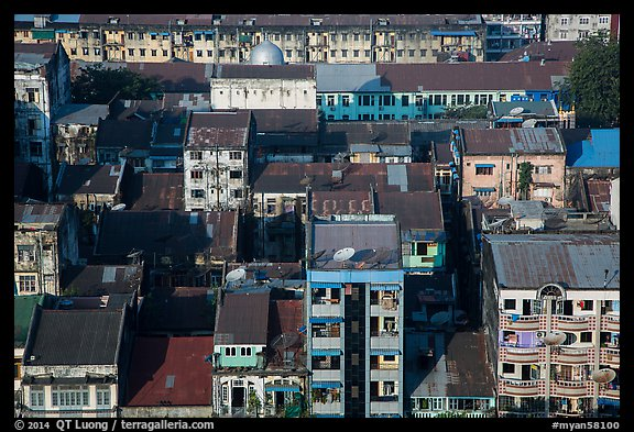 Residential buildings from above. Yangon, Myanmar (color)