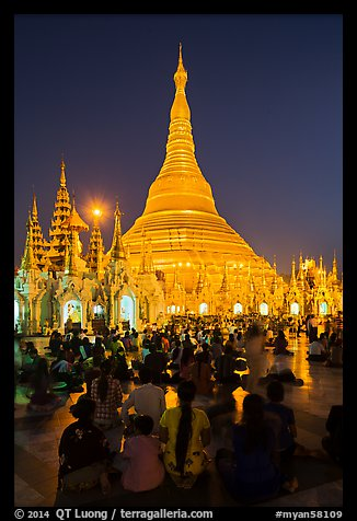Golden dome seen from the Victory Ground at dusk, Shwedagon Pagoda. Yangon, Myanmar (color)