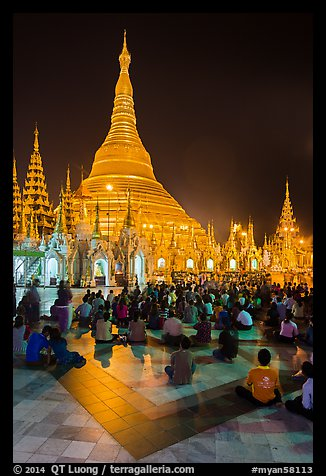Golden dome seen from the Victory Ground at night, Shwedagon Pagoda. Yangon, Myanmar (color)