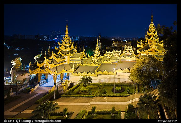South stairwaygate from above at night, Shwedagon Pagoda. Yangon, Myanmar (color)