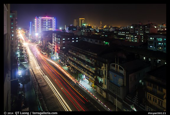 Street from above at night. Yangon, Myanmar (color)