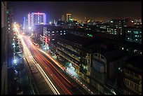 Street from above at night. Yangon, Myanmar ( color)