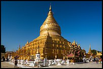 Circular gold leaf-gilded stupa, Shwezigon Pagoda. Bagan, Myanmar ( color)