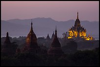 Temples seen from Shwesandaw at dusk. Bagan, Myanmar ( color)