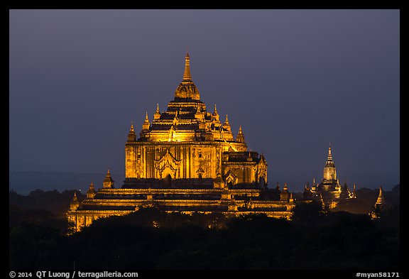 Thatbyinnyu temple at night. Bagan, Myanmar (color)