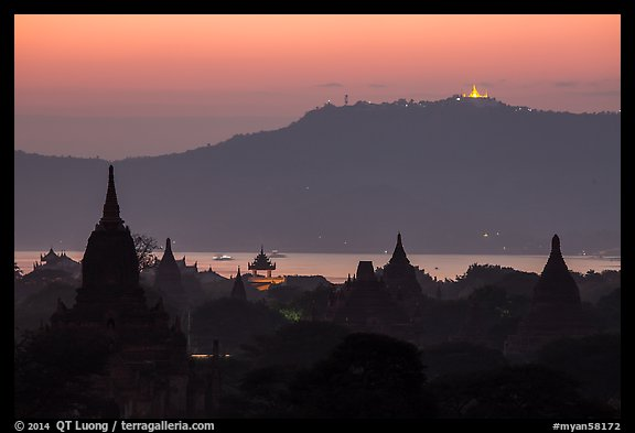 Temples and Ayeyarwaddy River at dusk. Bagan, Myanmar (color)