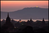 Temples and Ayeyarwaddy River at dusk. Bagan, Myanmar ( color)