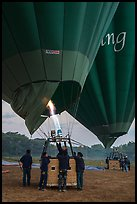 Hot air balloons before take off. Bagan, Myanmar ( color)