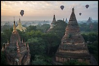 Temples and hot air ballons at sunrise. Bagan, Myanmar ( color)