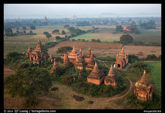 Aerial view of a complex of temples. Bagan, Myanmar (color)