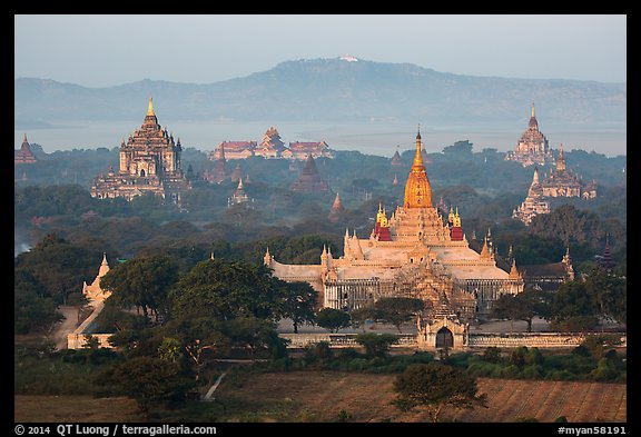 Aerial view of Ananda temple. Bagan, Myanmar (color)