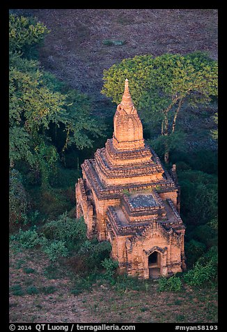 Aerial view of a small temple. Bagan, Myanmar (color)