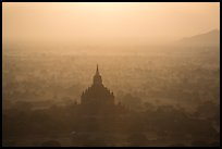 Aerial view of backlit temple in mist. Bagan, Myanmar ( color)