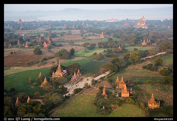 Aerial view of many temples set amongst fields. Bagan, Myanmar (color)