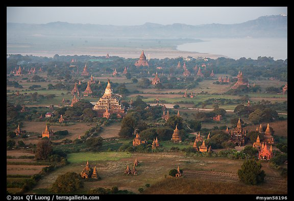 Aerial view of temples, cultivated lands, and Ayeyarwaddy River. Bagan, Myanmar (color)