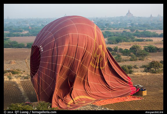 Aerial view of landed hot air balloon. Bagan, Myanmar (color)