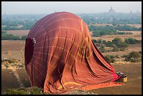 Aerial view of landed hot air balloon. Bagan, Myanmar ( color)