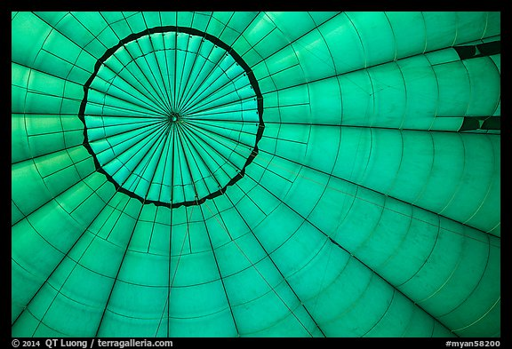 Looking up inside hot air balloon. Bagan, Myanmar (color)
