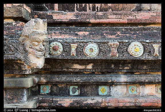 Brickwork detail, Sulamani temple. Bagan, Myanmar (color)