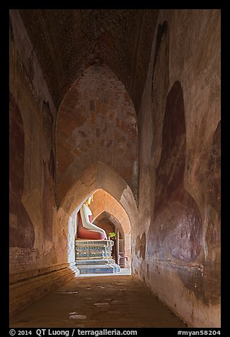 Corridor with frescoes and buddha statue, Sulamani temple. Bagan, Myanmar (color)
