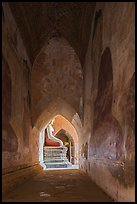 Corridor with frescoes and buddha statue, Sulamani temple. Bagan, Myanmar ( color)