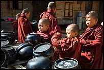 Novices getting ready for lunch, Nyaung U. Bagan, Myanmar ( color)