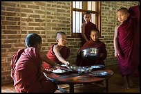 Buddhist novices preparing for lunch, Nyaung U. Bagan, Myanmar ( color)