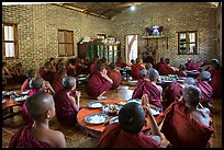 Novices in prayer before lunch, Nyaung U. Bagan, Myanmar ( color)