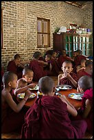 Young Buddhist monks in dining room. Bagan, Myanmar ( color)