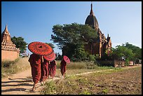 Young Buddhist monks holding red sun umbrellas walk towards temple. Bagan, Myanmar ( color)