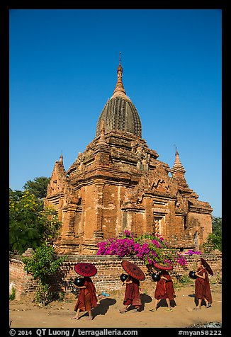 Four novices walk next to temple. Bagan, Myanmar (color)