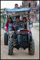 Children driving tractor, Minnanthu village. Bagan, Myanmar ( color)
