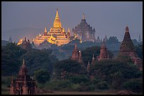 Temples at dawn, including Ananda and Thatbyinnyu. Bagan, Myanmar ( color)