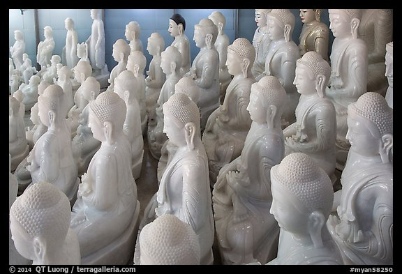 White marble buddha statues for sale. Mandalay, Myanmar (color)