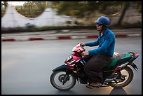 Motorcyle rider. Mandalay, Myanmar ( color)