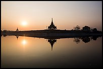 Sunrise, Mandalay Fort moat. Mandalay, Myanmar ( color)