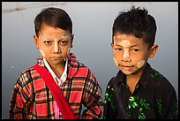 Boys wearing thanaka paste. Mandalay, Myanmar ( color)