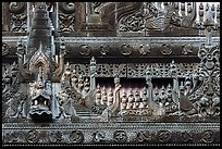 Detail of teak carving, Shwe In Bin Kyaung pagoda. Mandalay, Myanmar ( color)