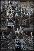 Intricate teak carving, Shwe In Bin Kyaung pagoda. Mandalay, Myanmar ( color)