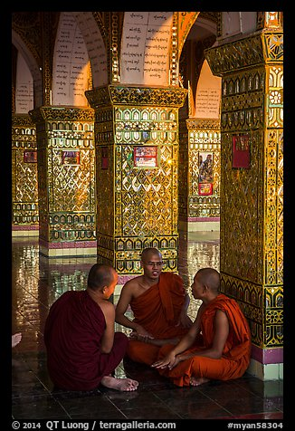 Monks in Sutaungpyei Pagoda. Mandalay, Myanmar (color)
