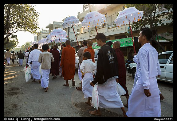 Alms procession. Mandalay, Myanmar (color)