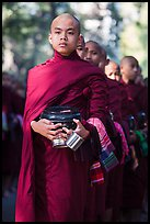 Monks stand in line before lunch, Mahagandayon Monastery. Amarapura, Myanmar ( color)