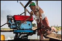 Boatman with one cylinder engine, Ava. Myanmar ( color)