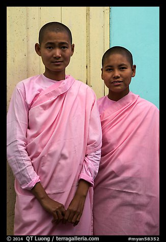 Two nuns, Zayar Theingi Nunnery, Sagaing. Myanmar (color)