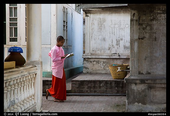 Nun reading, Zayar Theingi Nunnery, Sagaing. Myanmar (color)