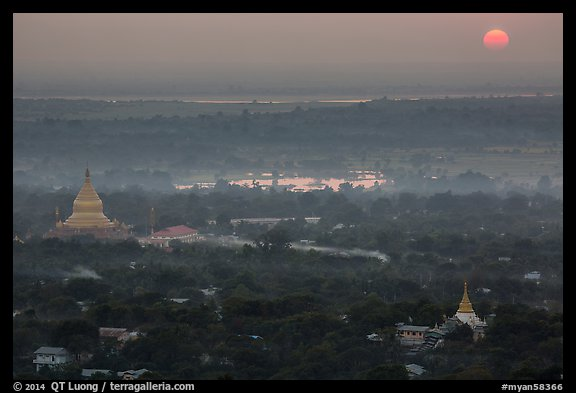 Sunset from Sagaing Hill. Myanmar (color)