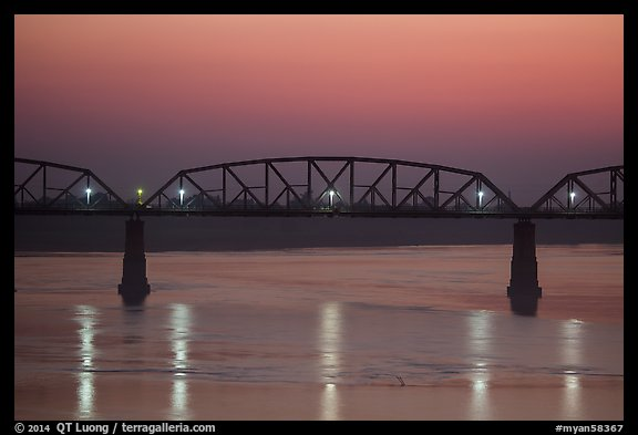 Ava Bridge over Ayeyarwady river at dusk, Sagaing. Myanmar (color)